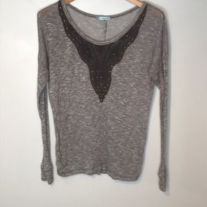 Maurice's brown knit lace & stud button back top